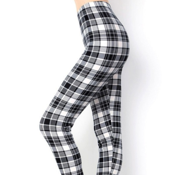 cdb901c208a649 Pants | Black White Buttersoft Plaid Leggings | Poshmark